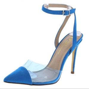 Shoes - Blue Suede Clear Transparent Stiletto Heels Pumps